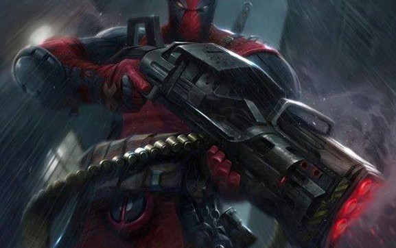 deadpool pointing riflre